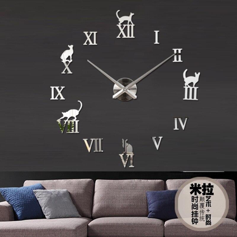 Delightful Big Size Wall Clock Part - 9: 2017 Fashion 3D Big Size Wall Clock Chinese Zodiac Traditional Design  Mirror Sticker DIY Brief Living