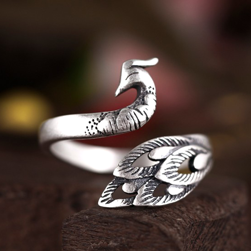 Real Pure 925 Sterling Silver Antique Peacock Rings 3D Animal Indian Style Jewelry Rings for Women Wedding Rings Adjustable mariposa en plata anillo
