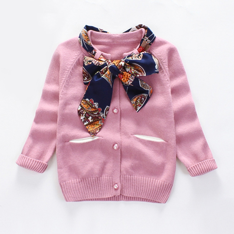 Autumn Baby Girl Sweet Design Sweater Toddler Cardigan with Flower Ribbon Bow Infant Clo ...