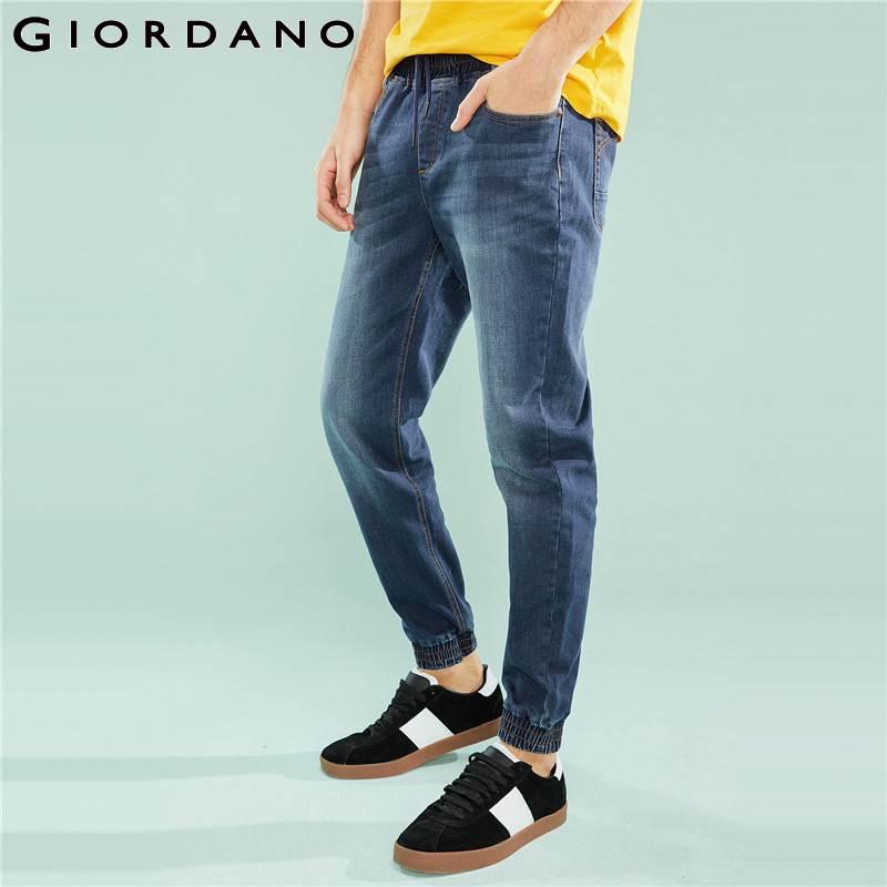 Giordano jeansy męskie biegaczy elastyczny Denim biegaczy mężczyźni pięć kieszeni styl Calca dżinsy Masculina na co dzień spodnie jeansowe mężczyzn w Dżinsy od Odzież męska na AliExpress - 11.11_Double 11Singles' Day 1