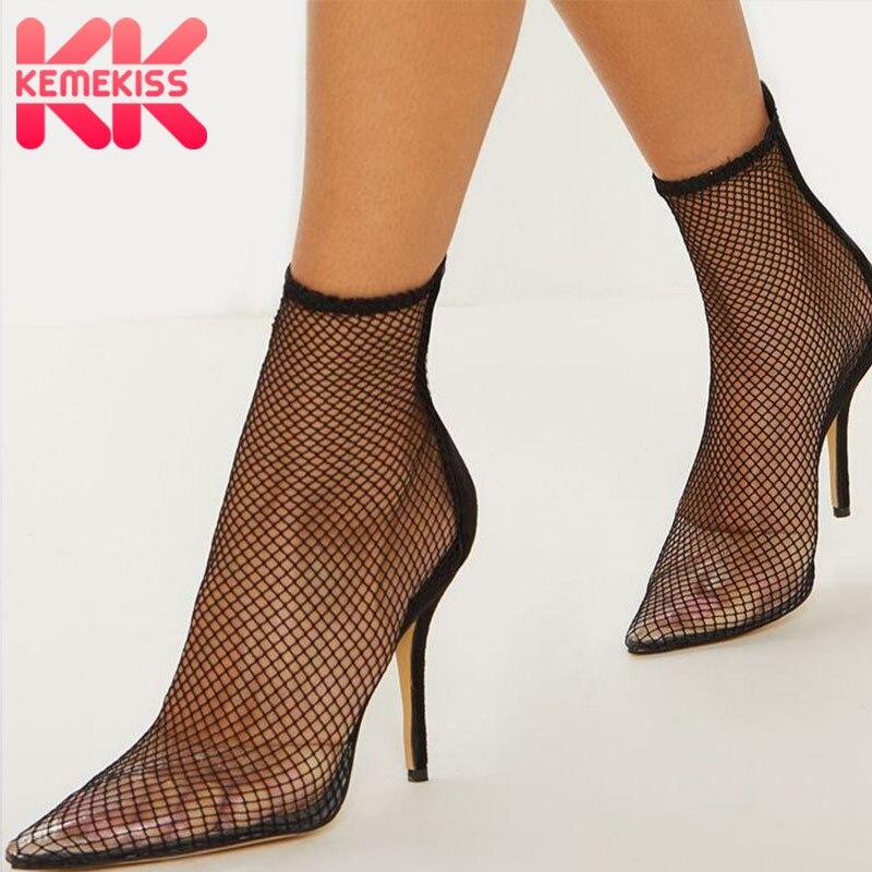 KemeKiss Women Boots PVC Zipper Thick Heels Transparent Spring Shoes Women Club Women High Heels Boots