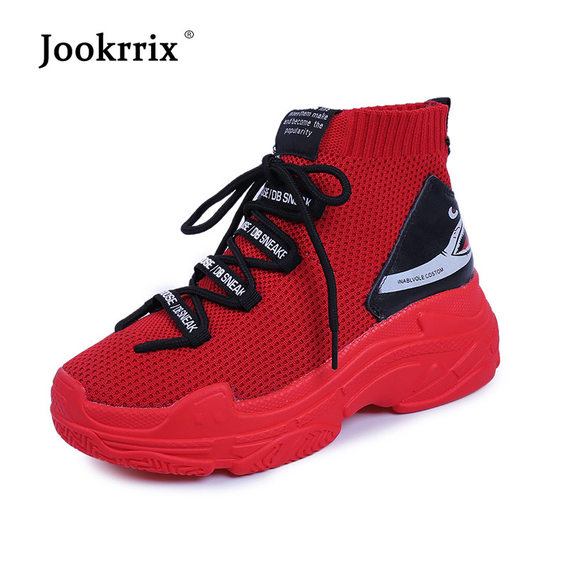 Jookrrix Casual White Sock Shoes Women Brand Platform Sneaker High Top Lady Black chaussure Letter Female footware Black Quality high quality black letter pattern removeable wall stickers