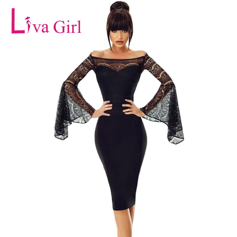 Have An Inquiring Mind Fashion Women A-line Dress Off Shoulder Long Sleeve O Neck Mini Dress Female Robe Autumn Sexy Black Dress Vestidos Non-Ironing Dresses