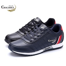 CROCODILE Original Men Running Sneaker Shoes Male Flat Athletic Sport Cushioning Jogging for Mens Leather Footwear