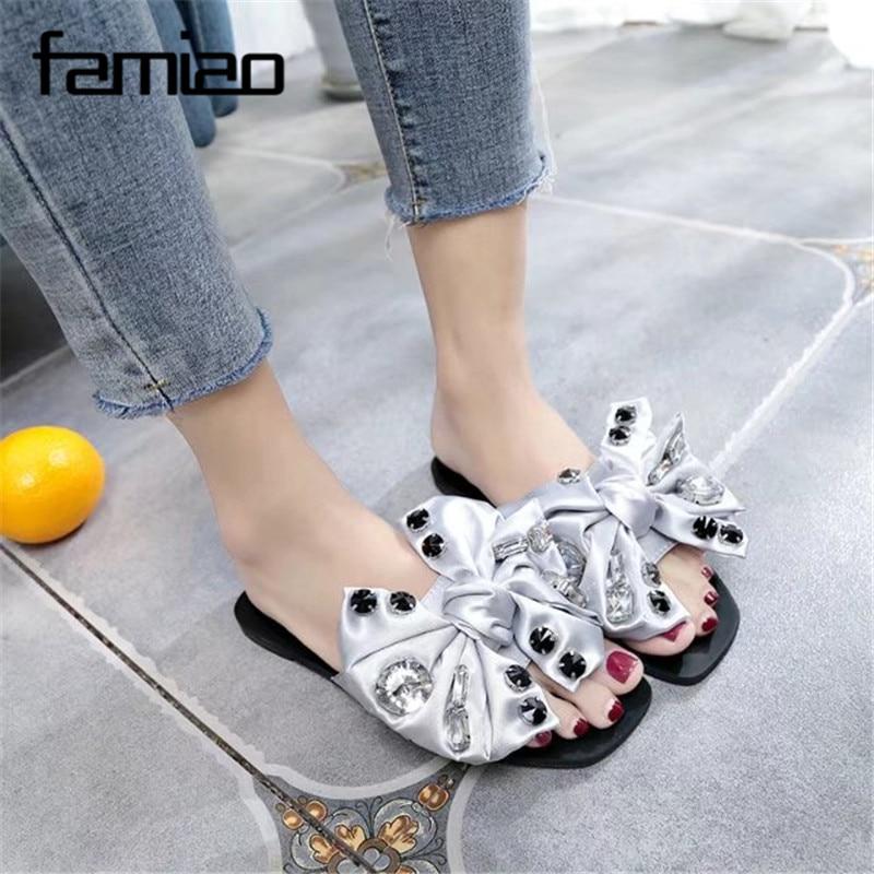 FAMIAO Women 2018 Bowknot Flat Tofflor Flip Flops Sommarskor Cool - Damskor - Foto 4