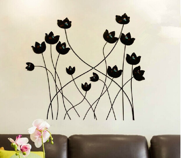 Modern Home Decoration Metal Wall Art Hand Made Black Popy Flower ...