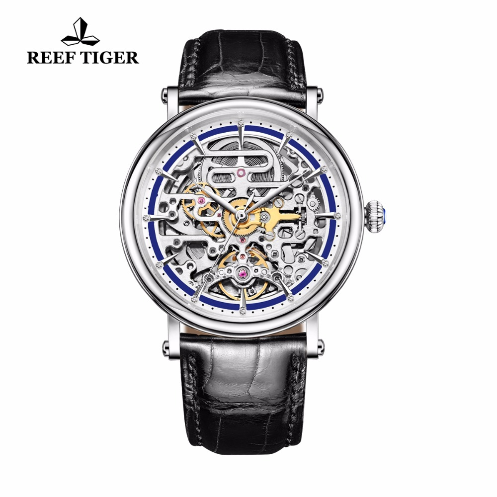 Reef Tiger/RT Watches Business Vintage Watches Mens Automatic Watches with Skeleton Dial Leather Strap Waterproof Watch RGA1917Reef Tiger/RT Watches Business Vintage Watches Mens Automatic Watches with Skeleton Dial Leather Strap Waterproof Watch RGA1917