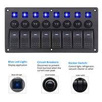 8 Gang LED Boat Rocker Switch Panel for Car Camper 3.1A Dual USB Power Socket Voltmeter 12V Cigarette Lighter Socket Fuse