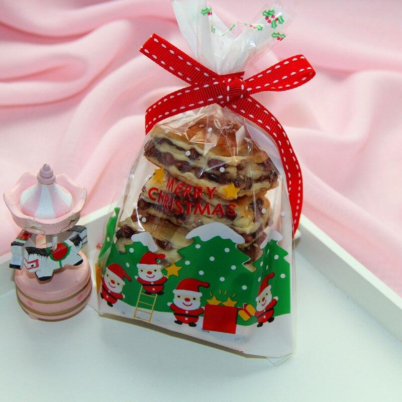 Christmas Cellophane Bags.200pcs Happy Christmas Santa Claus Gift Food Bag Christmas