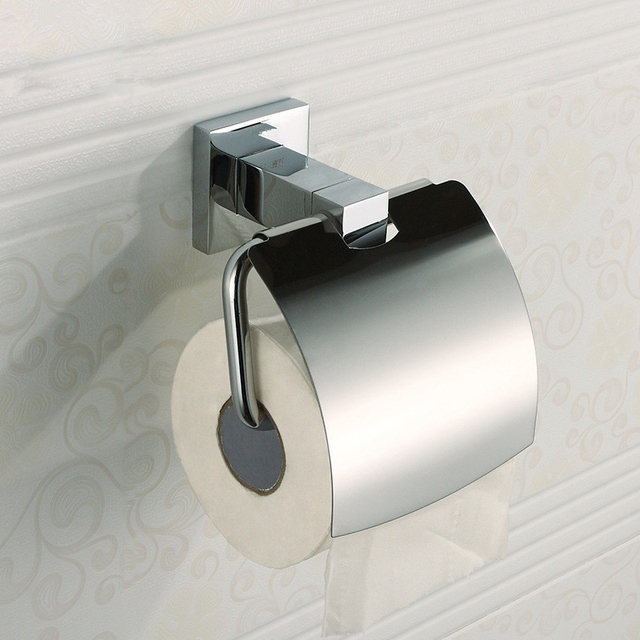 Whole And Retail Bathroom 304 Stainless Steel Chrome Toilet Paper Rack With Cover Tissue Holder Towel