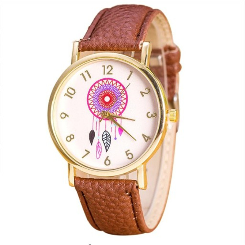 2018 Fashion Women Dress Watch Quarzt Dream Catcher Pattern Watches Relojes Mujer PU Leather Casual Watch Watch Hours Relogio