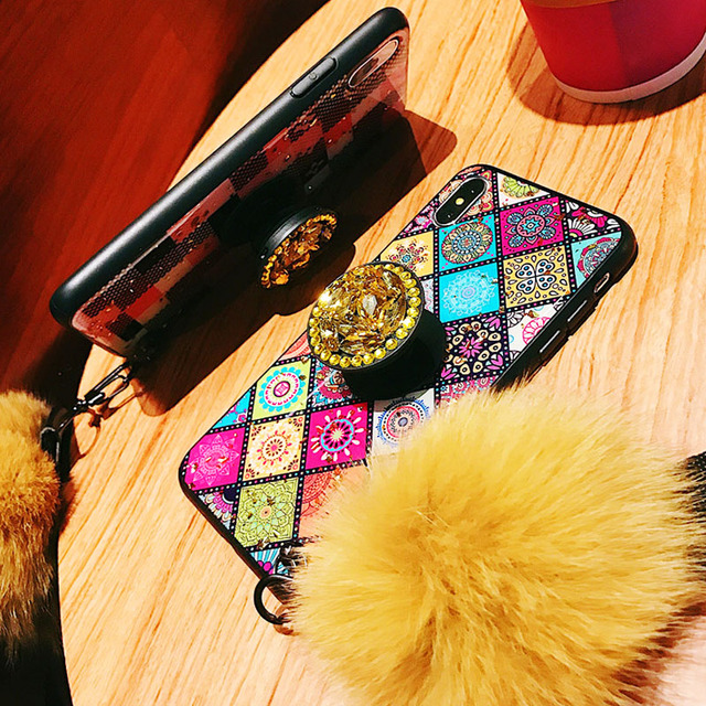 For OPPO R17 Case Luxury Phone Cover For OPPO R15 R15x R11 R11S Plus K1 Cases Hard Back Coque Hair Ball Rhinestone Stand Crack 4