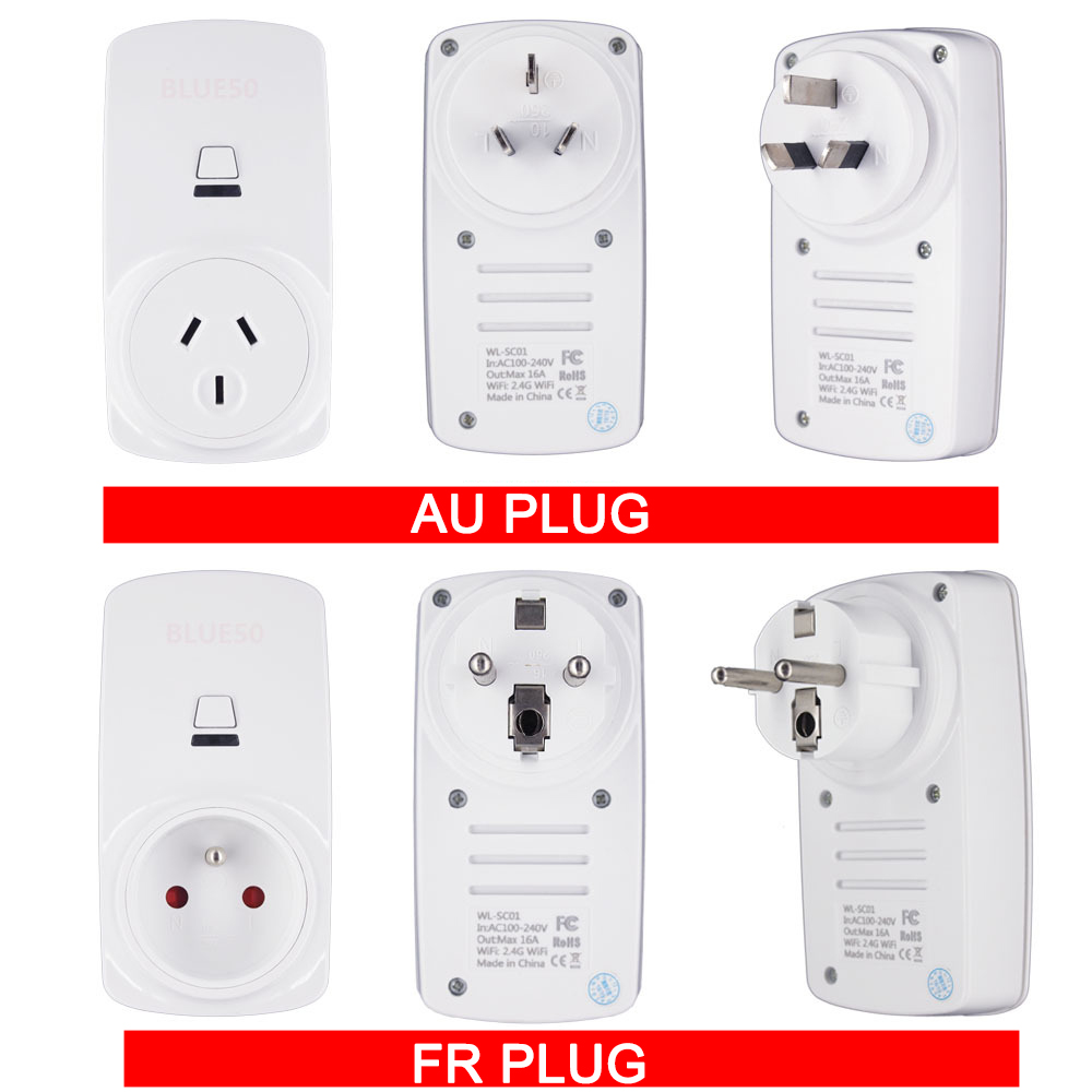 Lonsonho Smart Plug Wifi Socket EU FR Uk US AU Outlet 10A 16A Tuya Smart Life App Works Alexa IFTTT Google Home Wireless Control in Smart Power Socket Plug from Consumer Electronics