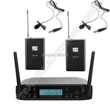 MICWL UHF 2 Lavalier Lapel Microphone Wireless Professional Two Channels Frequency Adjustable Perfect For Church Karaoke Club