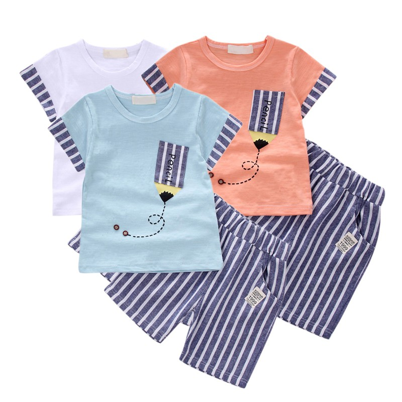 2018 Newborn Baby Boys Girls Clothes Cute Cotton Baby Clothing Set Short + Pant 2pcs Summer Spring Suit Little Girl Clothing Set