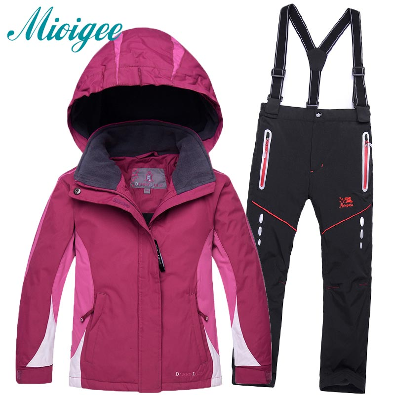 Children clothes sets New free shipping kids set windproof waterproof skiing jacket and pant snow -30 DEGREE ski suit for girls 2016 new brand children snow runner self balance scooter snow bicycle for kids ski kits