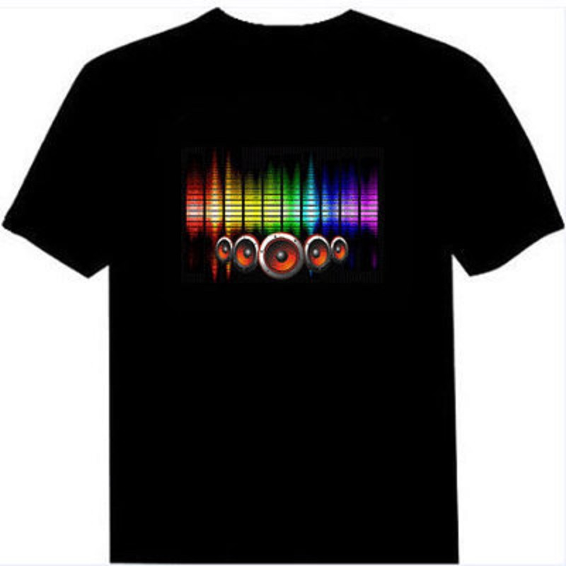 Anime Costumes Hot Sale Sound Activated Led Cotton T Shirt Light Up And Down Flashing Equalizer El T-shirt Men For Rock Disco Party Dj Top Tee Handsome Appearance Costumes & Accessories