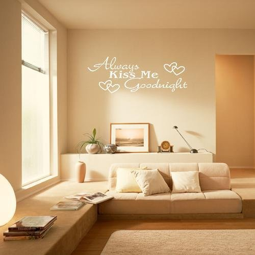 ₪NEW ALWAYS KISS ME GOODNIGHT Quote White Words Room Art Mural Wall ...