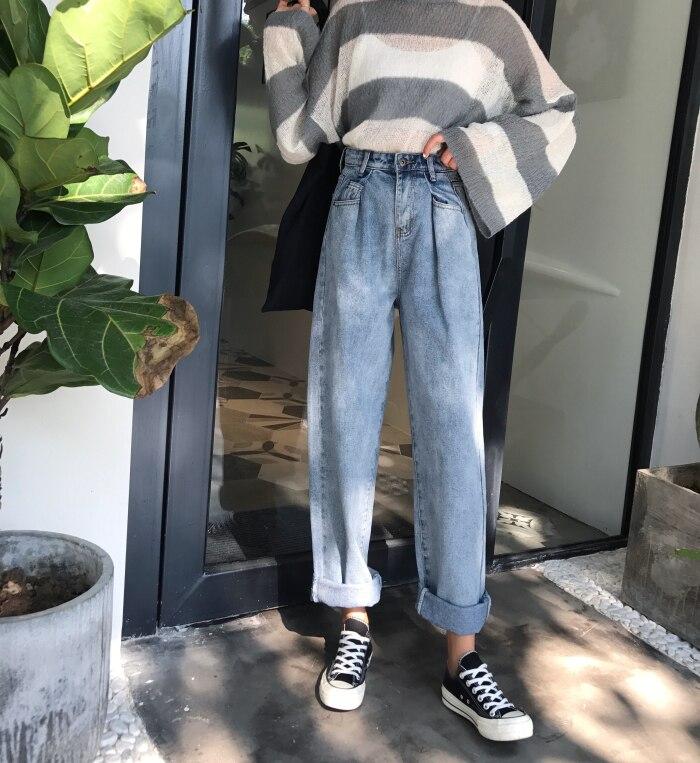 GUUZYUVIZ Loose Vintage Woman Jeans 17 Autumn Bleached Casual Boyfriend Curl Denim Wide Leg Pants Oversize High Waist Jean 1