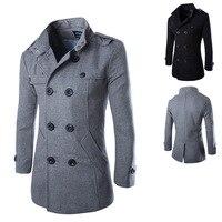 2015 New Men Casual Jacket Wool Coat Trench Coat Men Slim Fit Overcoat For Men Pea