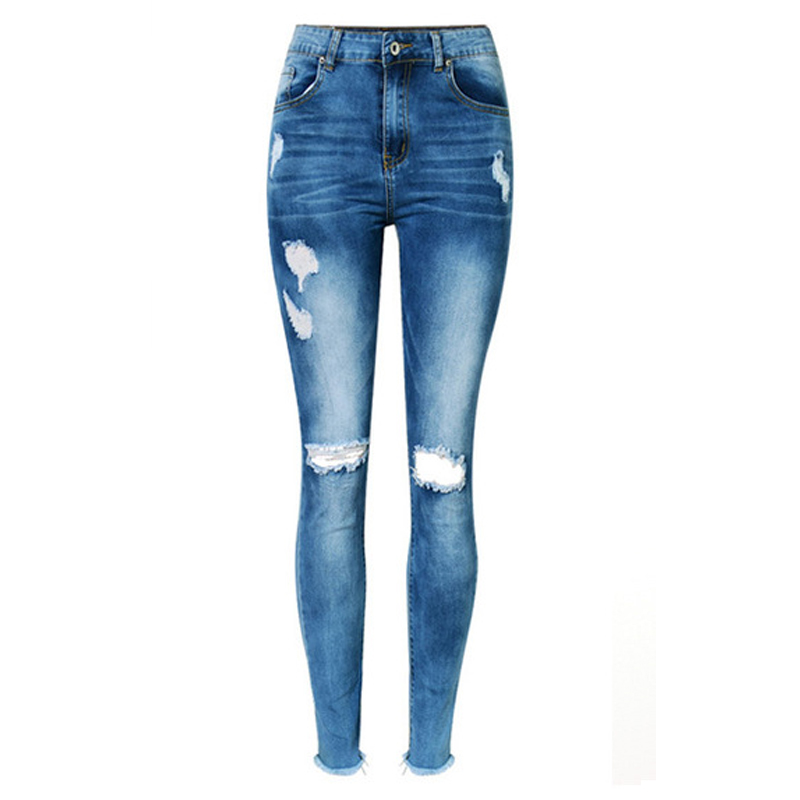 Mulher Plus Size Sexy Oco Out Skinny Jeans Angustiados Com Força Buracos Denim Calças Jeans rasgado para as mulheres Na Altura Do Joelho Femme 2017 ZIH030