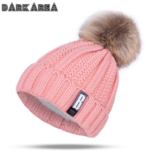 cae68018bd8cd DARKAREA 2018 High Quality Winter Hat Women Knitted Hat Women Hat Winter  Skullies Beanies Fashion Winter Pom Poms Female Cap