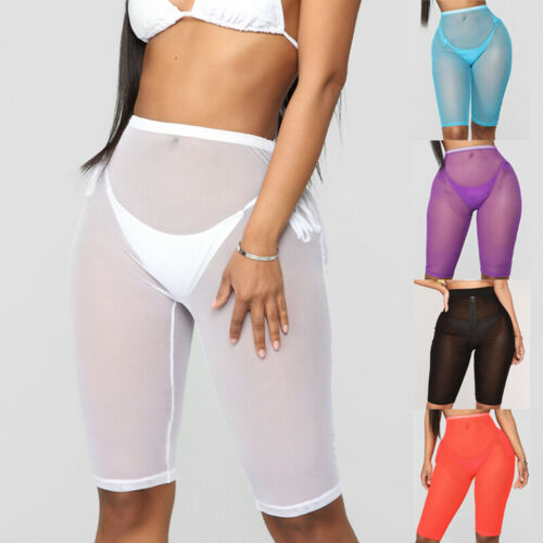 Hirgin 2019 Hot Womens See Through Fishnet  Mesh Shorts Sheer Bikini Cover Up High Waist Shorts