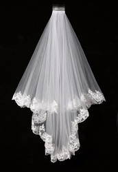 Elegant Cheap White/Ivory Elegant Beauty Two Layers Short  Net Tulle Bride Veil 1.5m Long Lace Edge Tulle Veil For Wedding SLV02