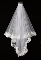Elegant Cheap White Ivory Elegant Beauty Two Layers Short Net Tulle Bride Veil 1 5m Long