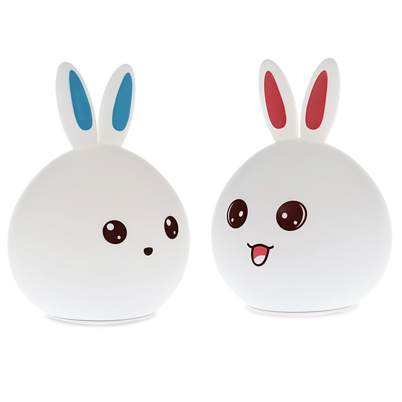 USB Charging Touch Sensor Controlled LED Rabbit Night Light Changeable Colors Table Desk Silicone Lamp