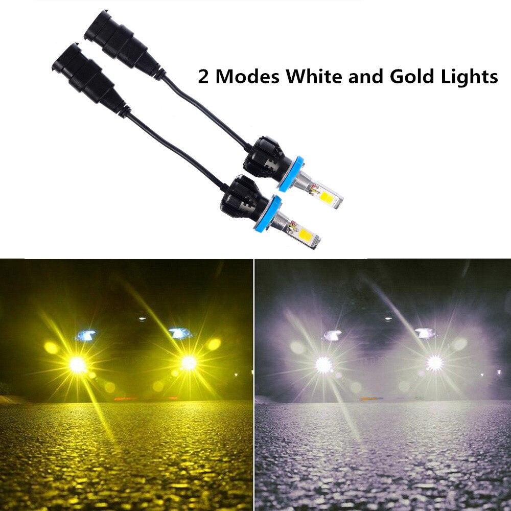1 Pair Car LED Fog Light H8/H11/9005/9006/H10 Bulbs Running 6500K 24W White & Gold car