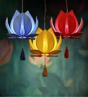 Die neue Chinesische lotus blatt kronleuchter esszimmer restaurant dekoration lampe klassischen nachahmung tuch rote laterne|Pendelleuchten|   -