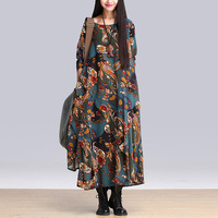 New Arrival 2015 Brand Ethnic Style Print Casual Maxi Spring Summer Long Dress Patchwork Elegant Dress