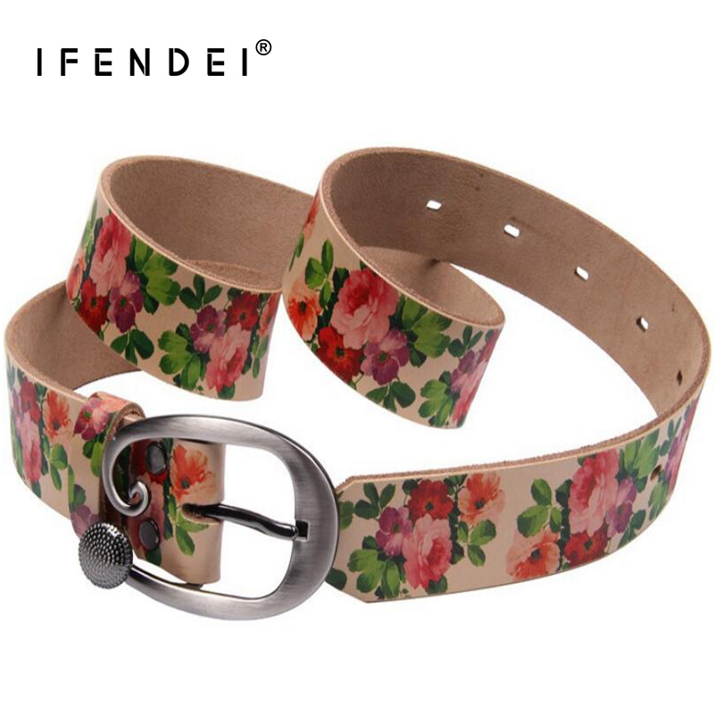 IFENDEI Women's Luxury Designer Belts Waist Fashion Sunflower Soft Strap Pin Buckle Belt For Jeans Colorful Cinturones Mujer