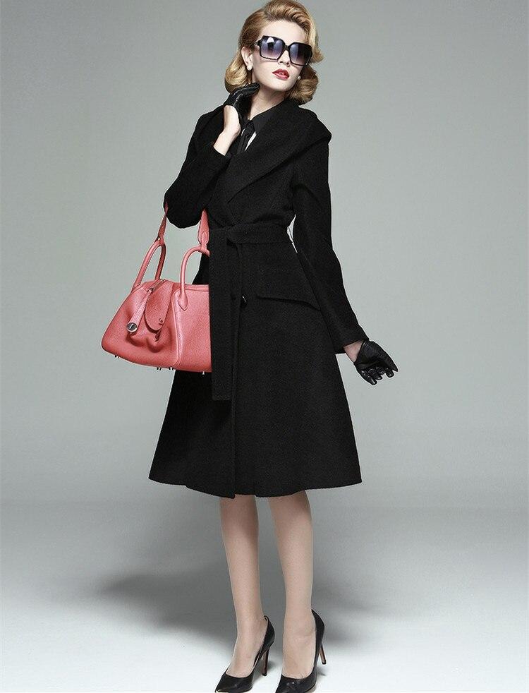 1ef851e0cf86c 20- winter women vintage 50s wool long swing hooded coat in black plus size  casaco
