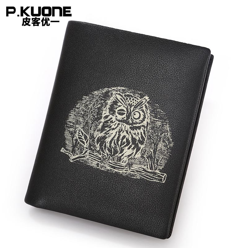 P.KUONE New Propitious Owl Bag Genuine Leather Men Wallet Clutch Purse Passport Cover Travel Credit Card Holder Clamp For Money p kuone business men purse famous luxury brand coin credit card holder male travel long wallet passport cover leather money bag
