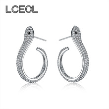 LCEOL  Brand Jewelry Mini Snake Earring S925 Stud Tiny CZ Diamonds Pave Setting White Gold Color Hook Shape Trendy Earrings