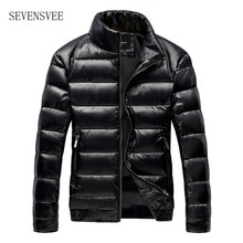 Winter Thick Warm Mens Duck Down Jacket Man PU Leather Motorcycle Down Coat Men Fashion Slim
