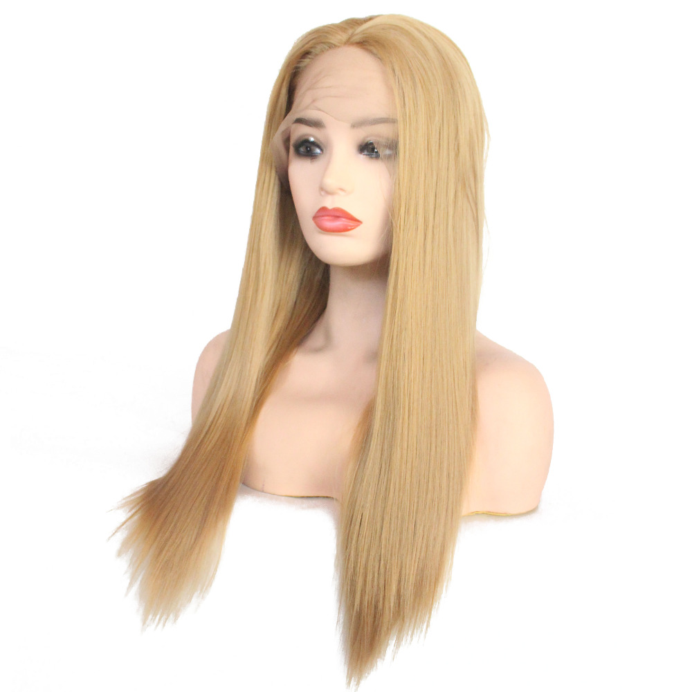 VNICE Middle Part Straight Honey Blonde Wig Heat Resistant Hair Glue-less Synthetic Lace Front Wig with Baby Hair Wig for Women