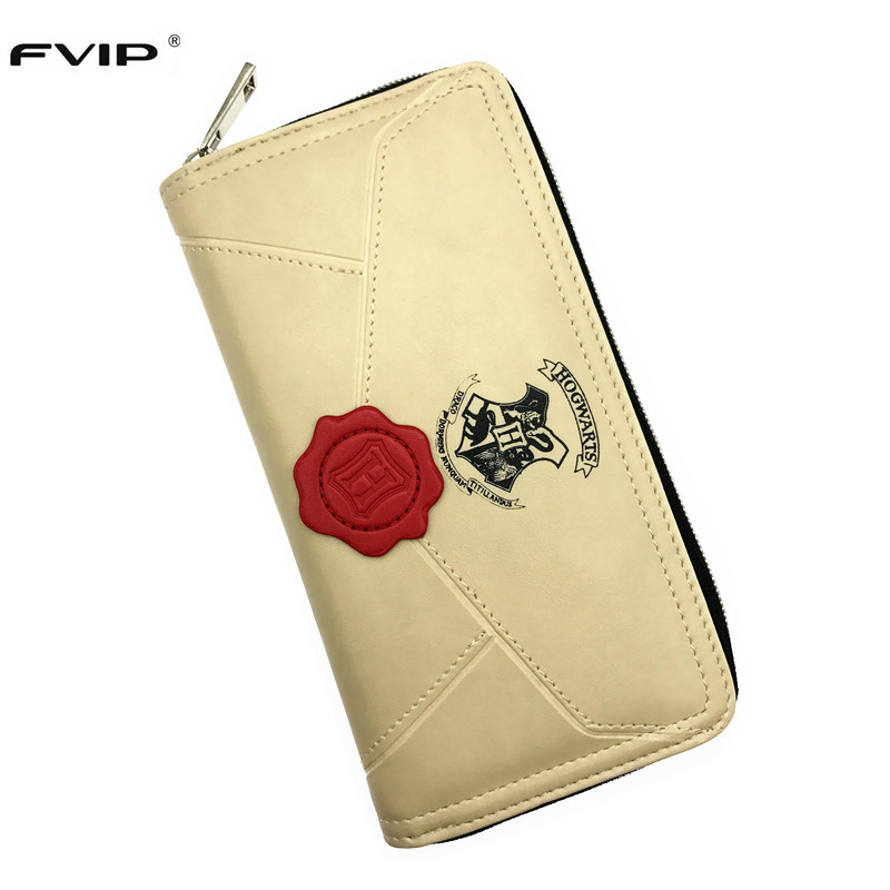 FVIP Harry Potter Letter Zip Around Wallet PU Long Fashion Women Wallets Designer Brand Purse Lady Party Wallet For Potterhead fvip high quality short wallet harry potter game of thrones suicide squad wonder women tokyo ghoul men s wallets women purse
