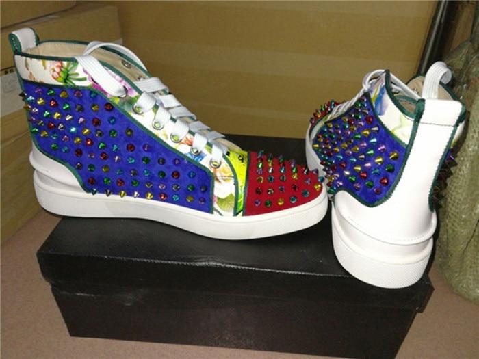 SHOOEGLE Nuovi Uomini Big Size 39 46 Spike Shoes Fashion Appartamenti High top Uomini Stivaletti Piattaforma di Stampa Colorful Rivetti Studs Scarpe - 5