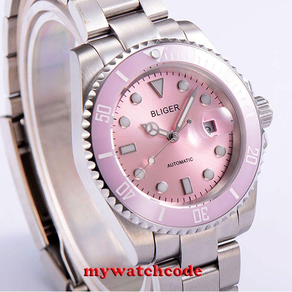 40 ملليمتر Bliger الوردي الهاتفي خمر الياقوت كريستال التلقائي حركة إمرأة watch42-في الساعات الميكانيكية من ساعات اليد على  مجموعة 3