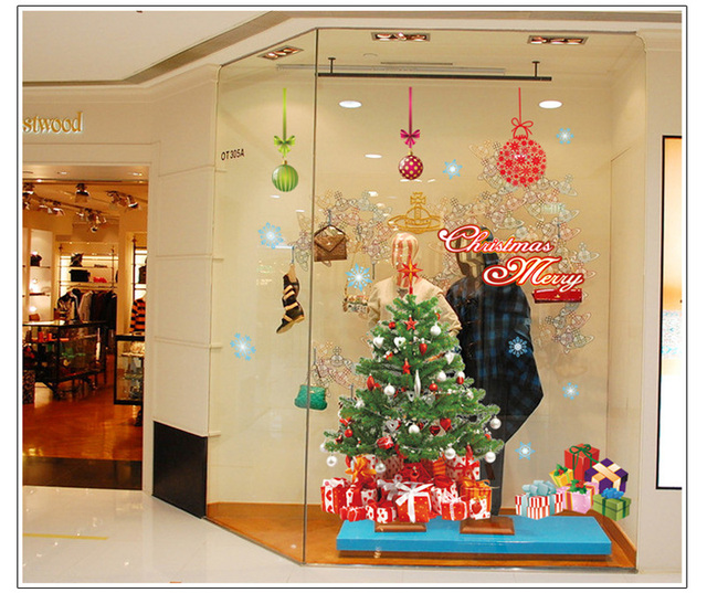 Showcase Decor Festival Home Decor Merry Christmas Wall Sticker Decal Removable Mural Door Vinyl Art Home Room Sticker 60*90cm