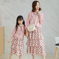 Family Matching Outfits Mother Daughter Hoodies+Dot Printed Skirt Sets 2pcs Family Look Mom Girl Fashion Sweatshirt Suit Clothes