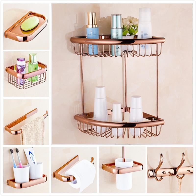 Us 24 6 40 Off Wall Mount Free Shipping Rose Golden Bathroom Storage Basket Bath Towel Bar Toilet Paper Holder Hooks Soap Dish In Bars