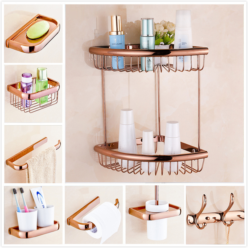 wall mount free shipping rose golden bathroom storage basket bath towel bar toilet paper holder towel