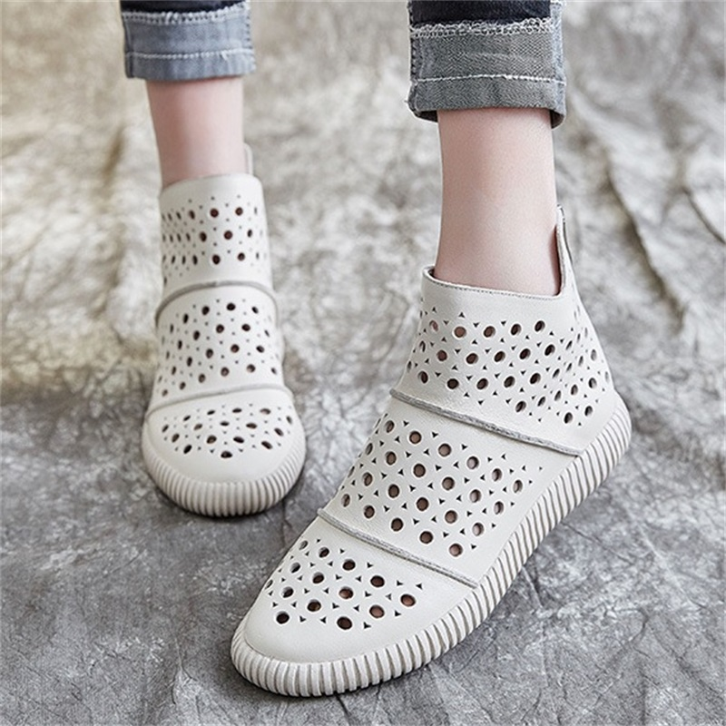 Women Leather Boots Sandals Low Heels Casual White Shoes Women Hollow Out Summer Ankle Boots Black Handmade Genuine Leather Boot-in Ankle Boots from Shoes    1