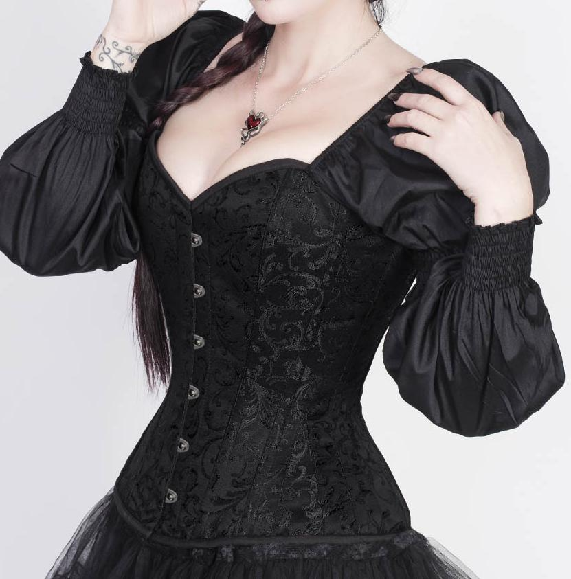 c8036d8c4 Black Long Puff Sleeve Plus Size Corsets And Bustiers Vintage Victorian  Corset Sexy Korsett For Women Steampunk Gothic Corset-in Bustiers   Corsets  from ...