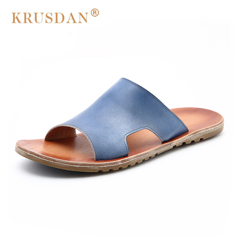 [KRUSDAN]New Soft Genuine Leather Beach Sandals For Men Handmade Summer Shoes Male 2018 Sewing Classics Slippers For Men facndinll genuine leather sandals for