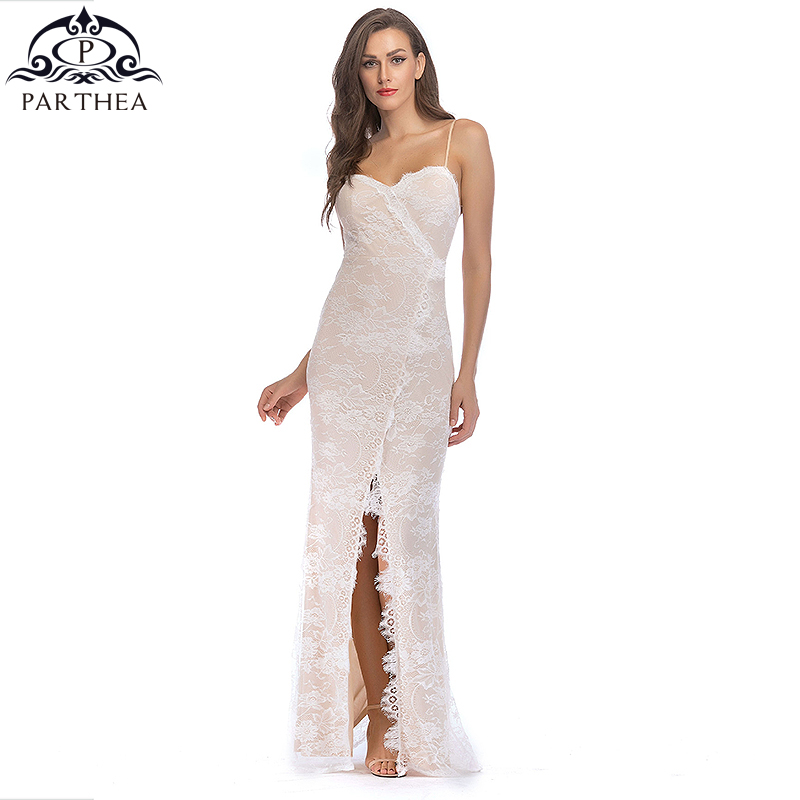 ead1f011ca6a5 Parthea Lace Maxi Dress Elegant Party Long Dress Sexy Clubwear White Summer  Dress Women Dresses Vestido De Festa Longo Gowns N